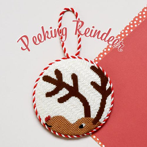 Peeking Reindeer Ornament Kit & Online Class Online Course Needlepoint.Com