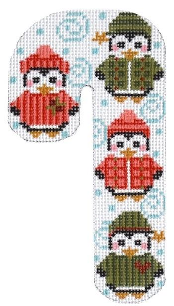 Penguin Candy Cane Painted Canvas Danji Designs