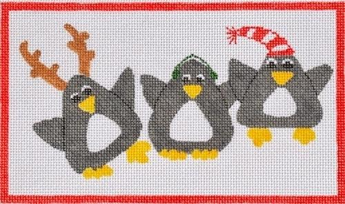 Penguin Delight Painted Canvas Waterweave