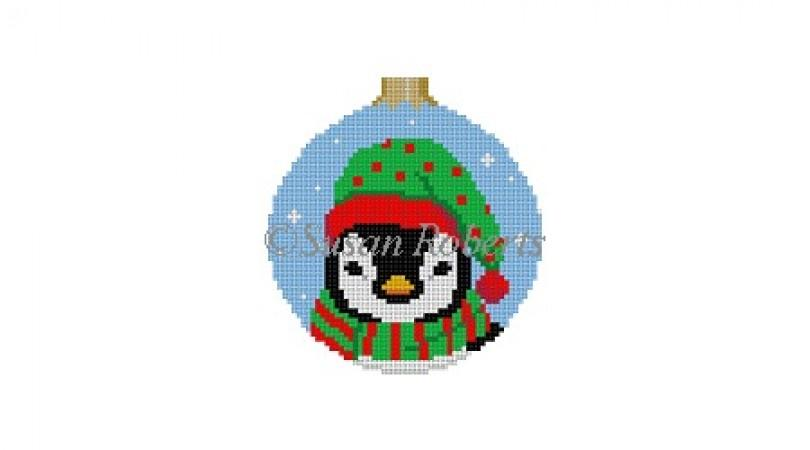Penguin Face Round Painted Canvas Susan Roberts Needlepoint Designs Inc.