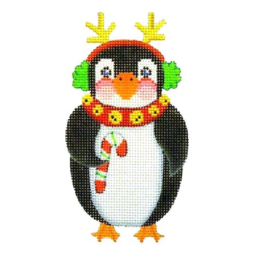 Penguin with Antlers Painted Canvas Burnett & Bradley