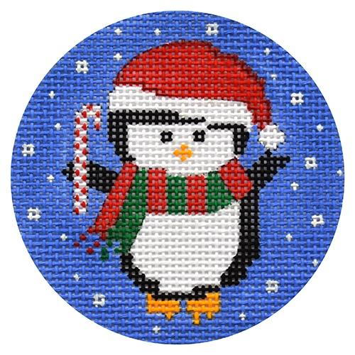 Penguin with Candy Cane Ornament Painted Canvas CBK Needlepoint Collections