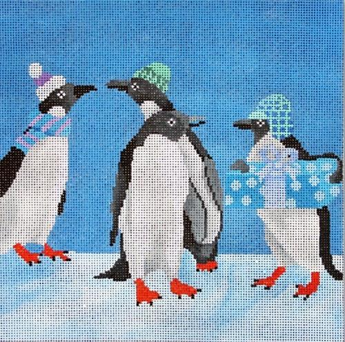 Penguin with Package Painted Canvas Scott Church Creative