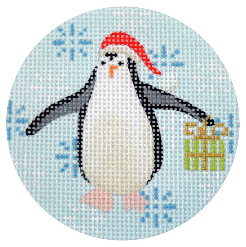Penguin Xmas Circle Lime Painted Canvas Kirk & Bradley
