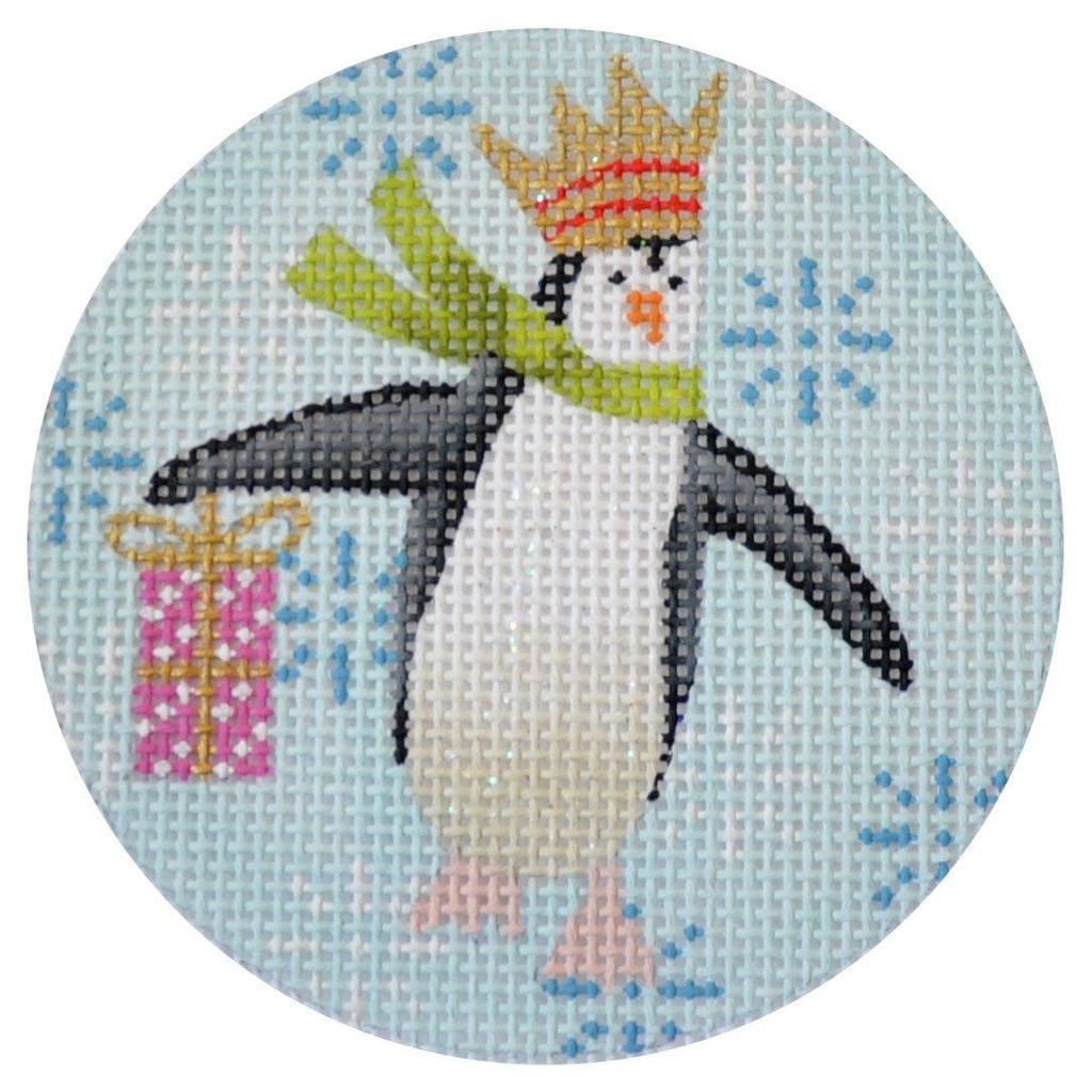 Penguin Xmas Circle Pink Painted Canvas Kirk & Bradley