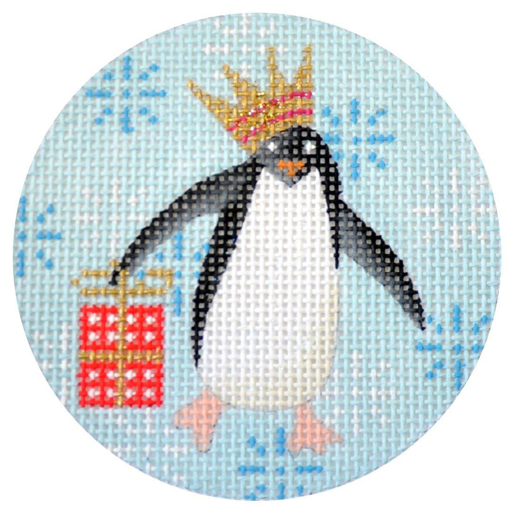 Penguin Xmas Circle Red Painted Canvas Kirk & Bradley