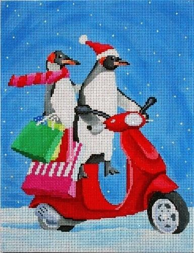 Penguins on Scooter Shopping Painted Canvas Scott Church Creative