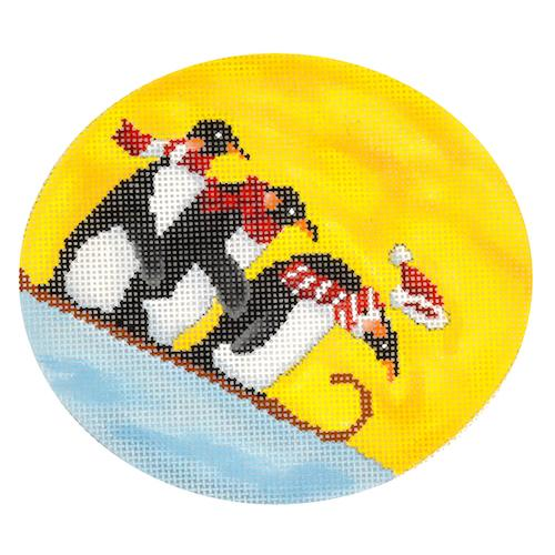 Penguins Sledding Painted Canvas Scott Church Creative