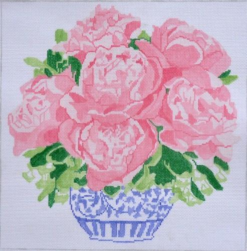 Peony Bouquet Painted Canvas Jean Smith
