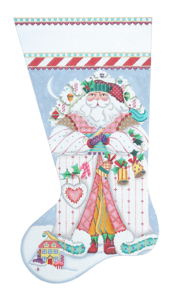 Peppermint Stick Stocking Painted Canvas Melissa Shirley Designs