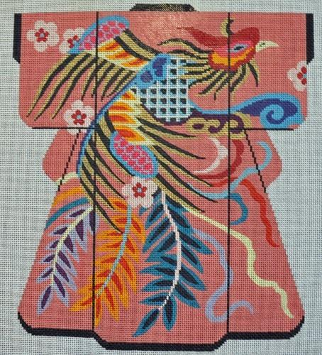 Phoenix on Pink Kimono Painted Canvas Lee's Needle Art Inc.