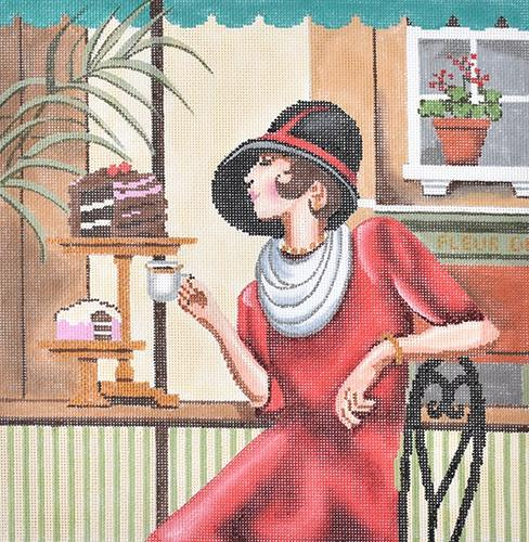 Picture Lady Coffee Painted Canvas Gayla Elliott