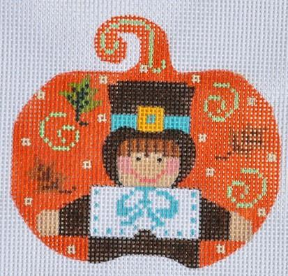 Pilgrim Boy Pumpkin Painted Canvas Danji Designs