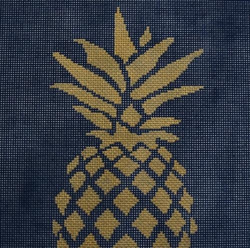 Pineapple Stencil Navy Painted Canvas Two Sisters Needlepoint