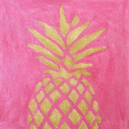 Pineapple Stencil / Pink Painted Canvas Two Sisters Needlepoint