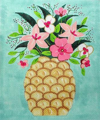 Pineapple with Flowers Painted Canvas Alice Peterson