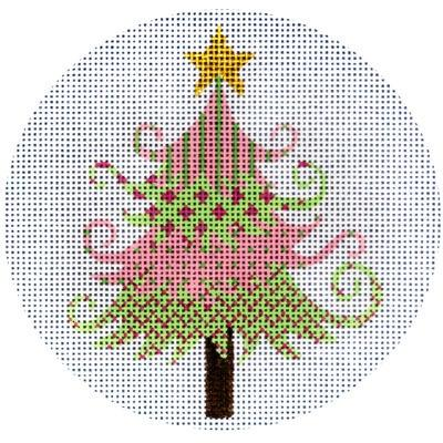 Pink and Green Christmas Tree Painted Canvas JP Needlepoint