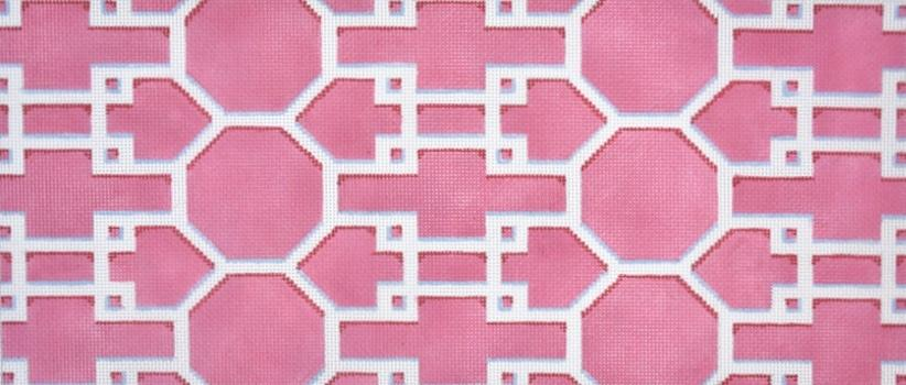 Pink and White Lattice Painted Canvas Associated Talents