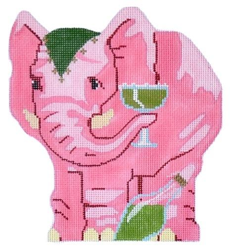 Pink Elephant Painted Canvas Labors of Love Needlepoint