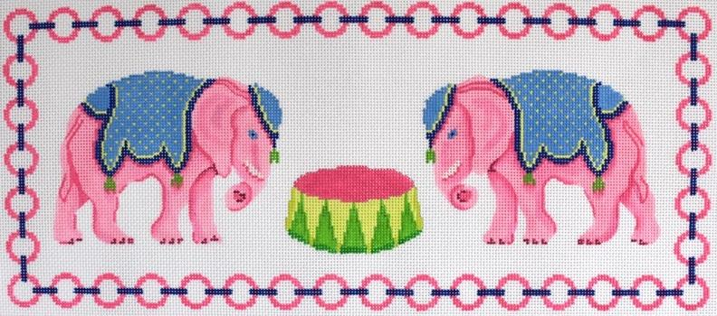 Pink Elephants Painted Canvas Kate Dickerson Needlepoint Collections