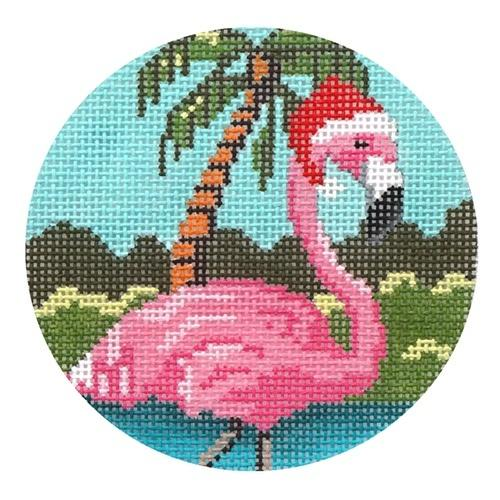 Pink Flamingo Ornament Painted Canvas Gayla Elliott