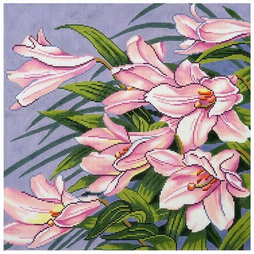 Pink Lillies Painted Canvas Lee's Needle Art Inc.