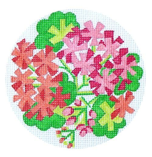 Pink & Salmon Geraniums Painted Canvas Kate Dickerson Needlepoint Collections