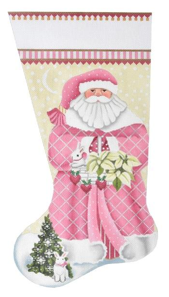 Pink Santa Stocking Painted Canvas Melissa Shirley Designs