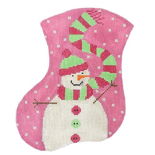 Pink Snow Girl Mini Stocking Painted Canvas The Meredith Collection