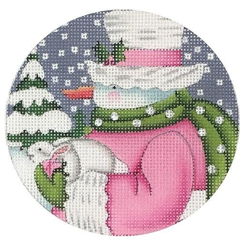 Pink Snowman Ornament Painted Canvas Melissa Shirley Designs