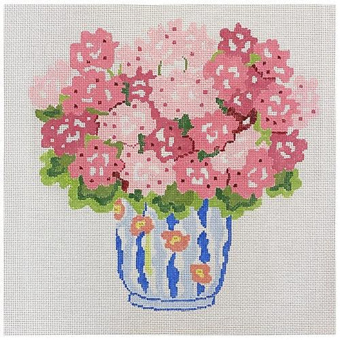 Pink Summer Geraniums Painted Canvas Jean Smith