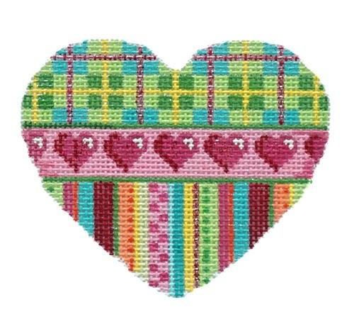 Plaid / Hearts / Stripes Heart Painted Canvas Associated Talents