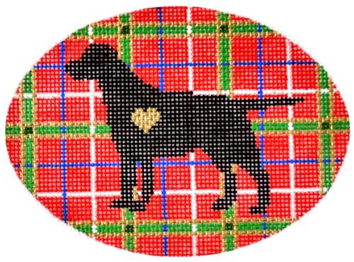 Plaid Silhouette Labrador Painted Canvas Pepperberry Designs