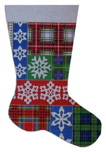 Plaid / Snowflake Stocking Painted Canvas Associated Talents