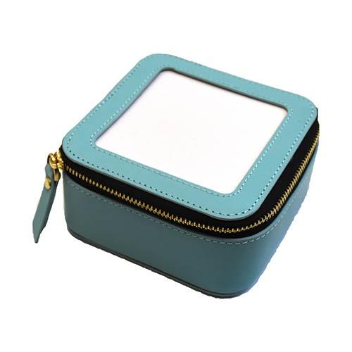 Planet Earth Leather Jewelry Case Aqua Leather Goods Planet Earth Leather