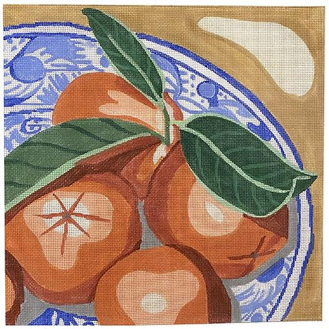 Plate of Oranges Painted Canvas Jean Smith