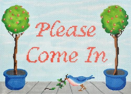 Please Come In Painted Canvas Kate Dickerson Needlepoint Collections
