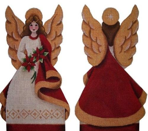 Poinsettia Angel Topper Painted Canvas Rebecca Wood Designs