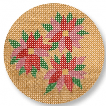 Poinsettia Ornament Painted Canvas CBK Needlepoint Collections