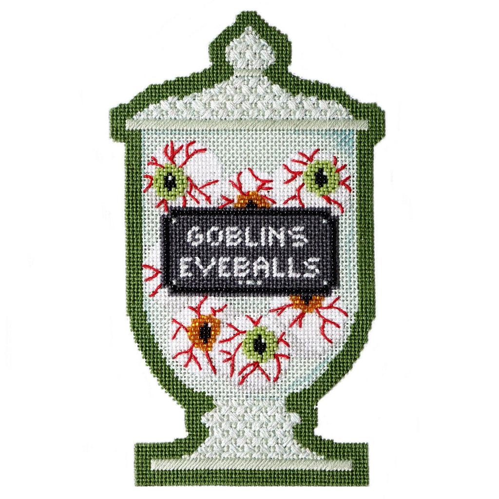 Poison Bottle - Goblins Eyeballs with Stitch Guide Painted Canvas Needlepoint.Com