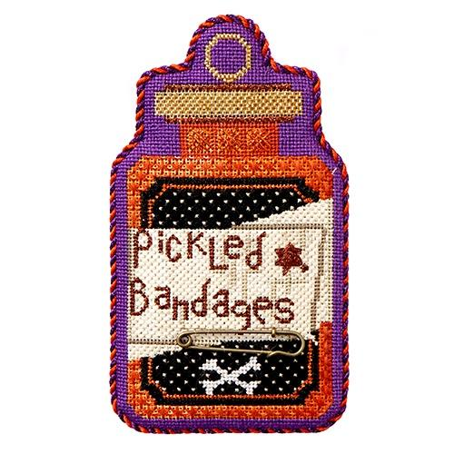 Poison Bottle - Pickled Bandages with Stitch Guide Painted Canvas Needlepoint.Com