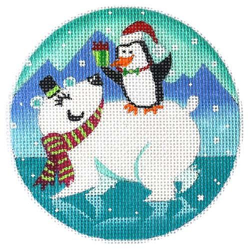 Polar and Penguin Painted Canvas Alice Peterson Company