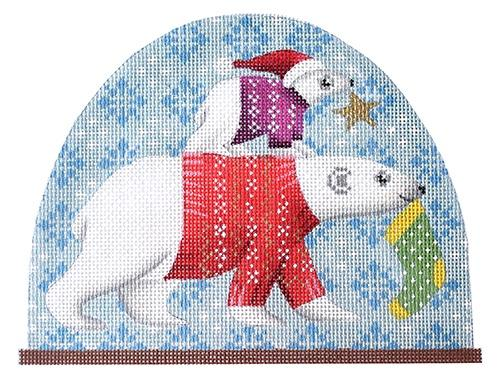 Polar Bear Snow Dome Painted Canvas Kirk & Bradley
