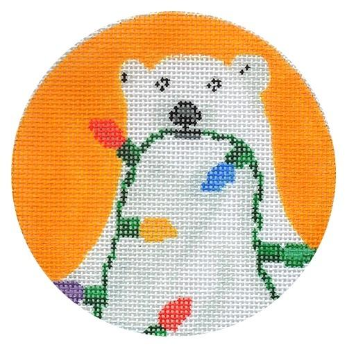 Polar Bear with Lights Painted Canvas Scott Church Creative