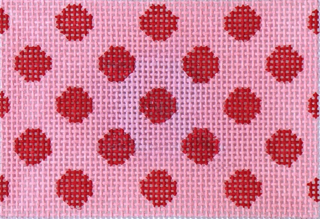 Polka Dots - Red on Pink Painted Canvas Kate Dickerson Needlepoint Collections