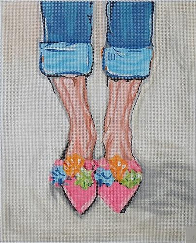 Pom Pom Shoes Painted Canvas Kate Dickerson Needlepoint Collections
