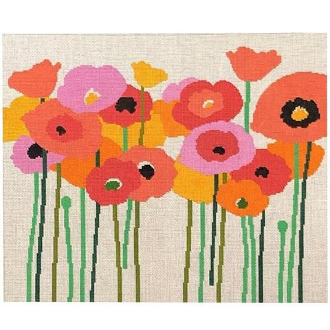 Poppies Pink & Orange Painted Canvas A Stitch in Time