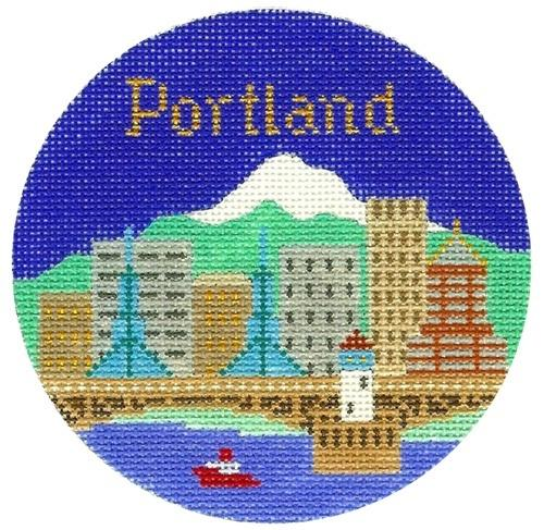 Portland Ornament Painted Canvas Silver Needle