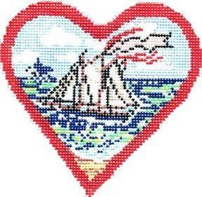 Postcard Boat Heart Painted Canvas Cooper Oaks Design
