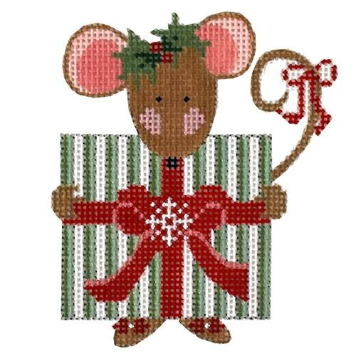 Present Mouse with Stitch Guide Painted Canvas Danji Designs
